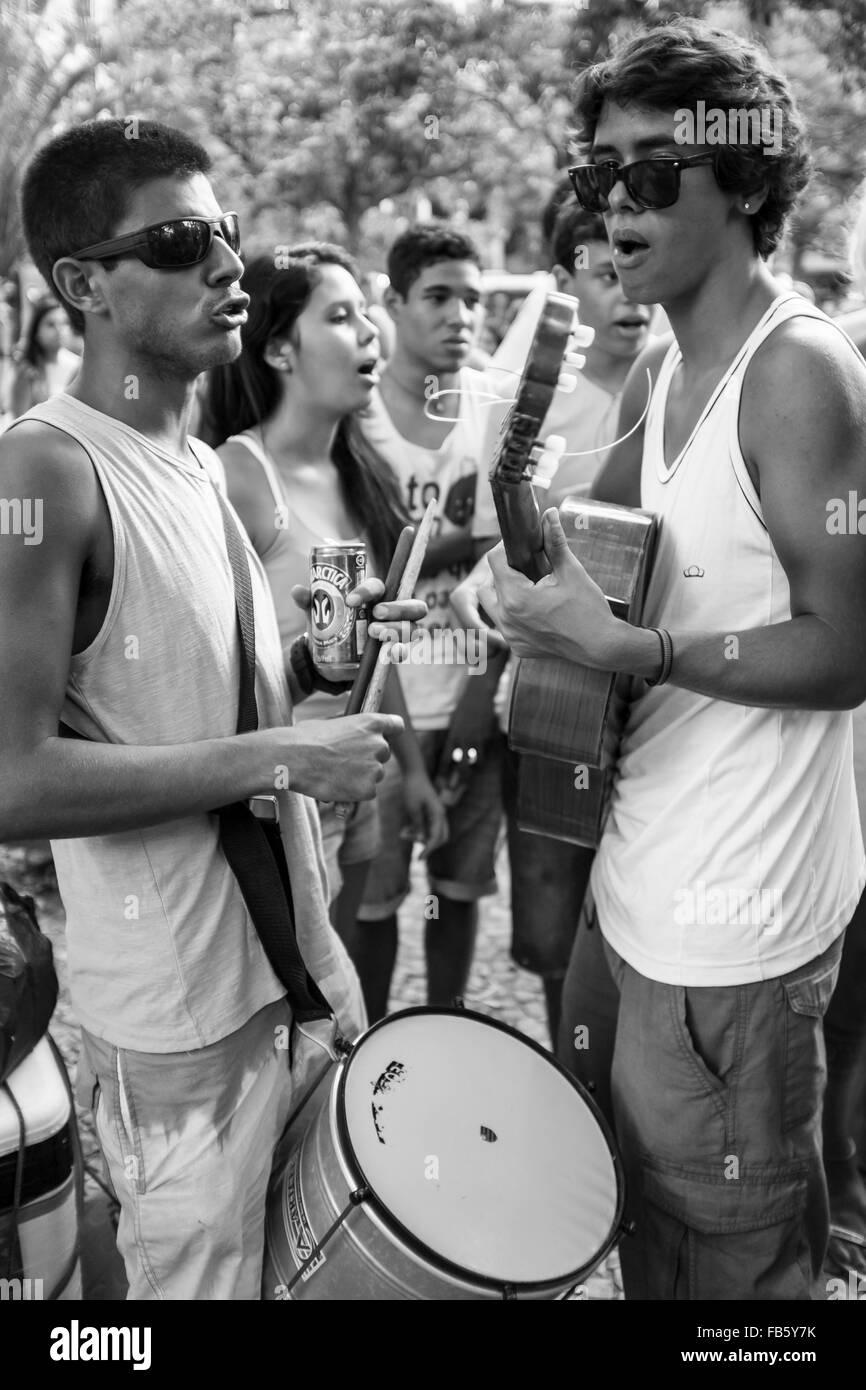 RIO DE JANEIRO, BRAZIL - FEBRUARY 28, 2014: Young Brazilian musicians make music at the gathering of the Banda de - Stock Image