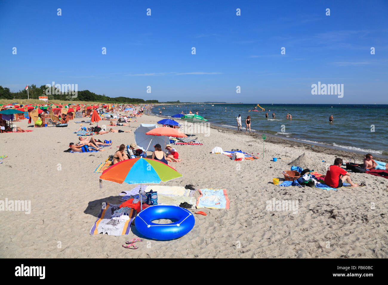 Suedstrand (south beach) at Burgtiefe, Fehmarn island, Baltic sea coast, Schleswig-Holstein, Germany - Stock Image