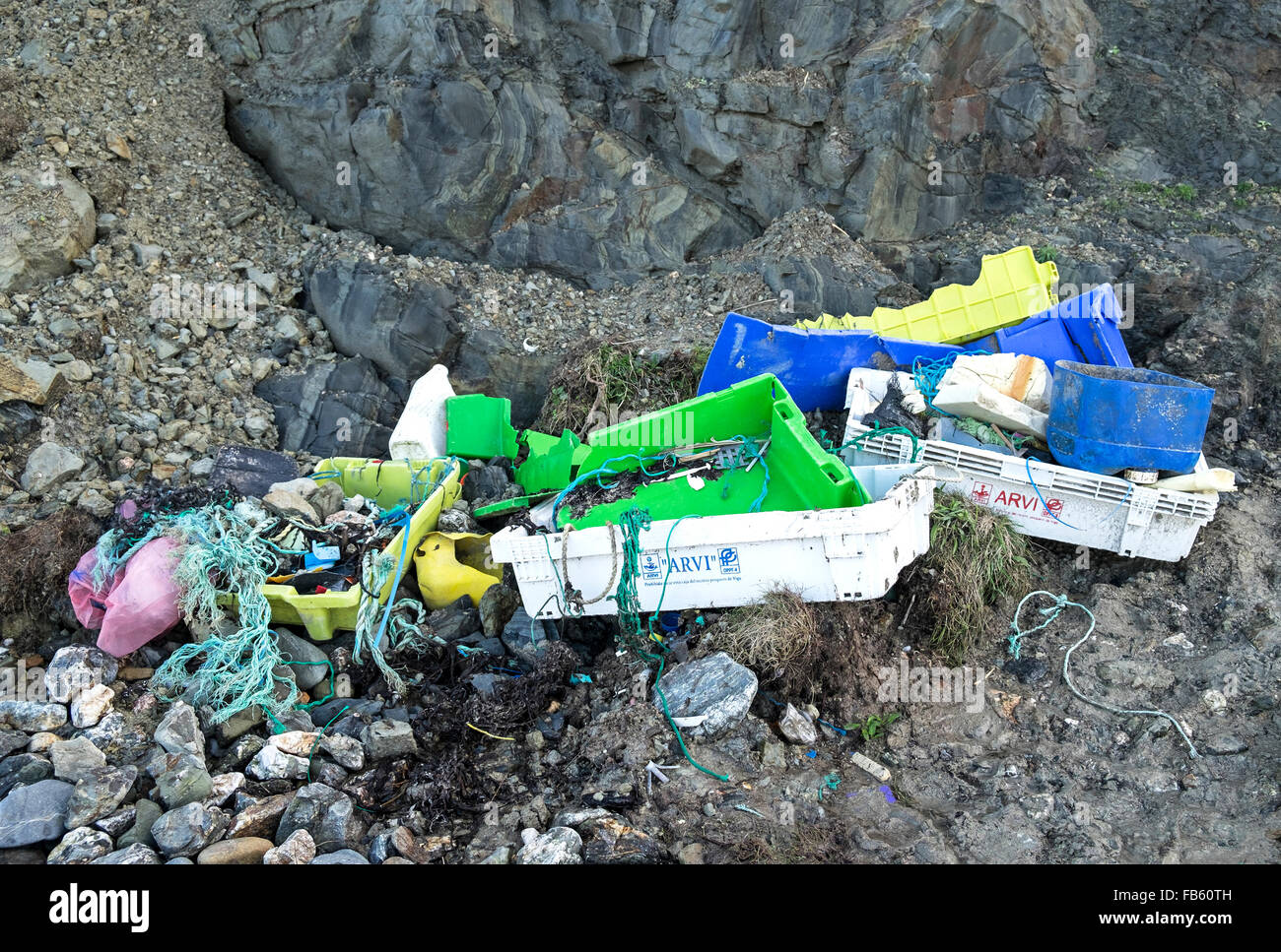 Litter that has been collected on a beach in cornwall, england, uk - Stock Image