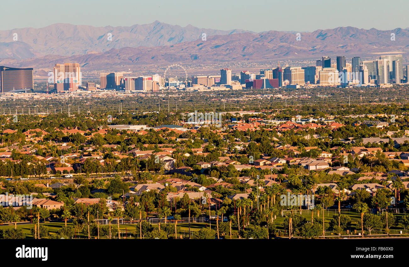 The Las Vegas Strip viewed from afar with hotels and 550 foot High Roller wheel in view. - Stock Image