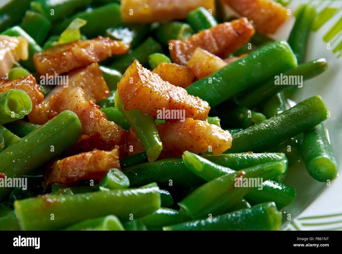 Schinkenspeck -Green Beans with Speck. German kitchen. Stock Photo