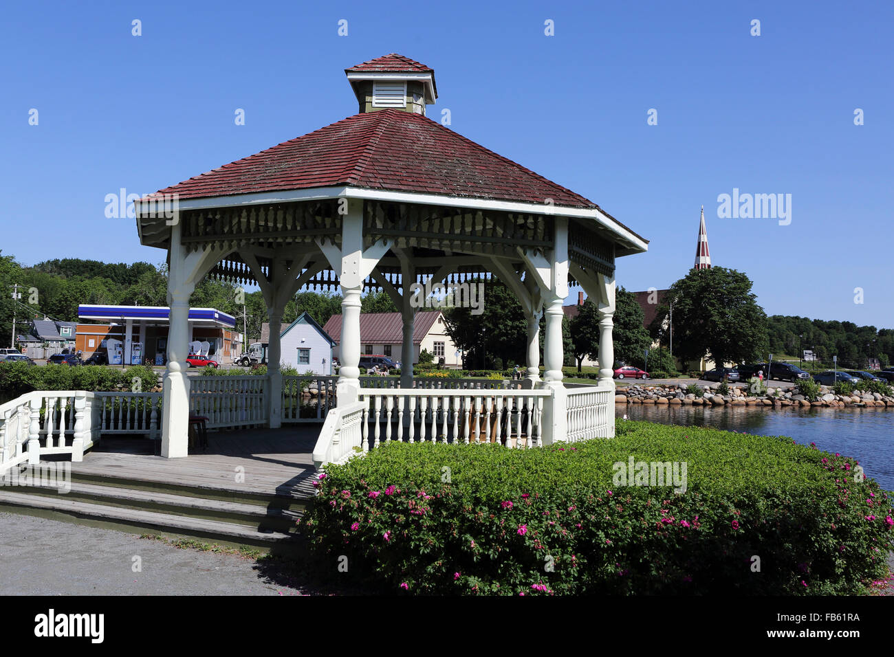 Thw waterfront bandstand in Mahone Bay in Nova Scotia, Canada. The bandstand is used for musical recitals. - Stock Image