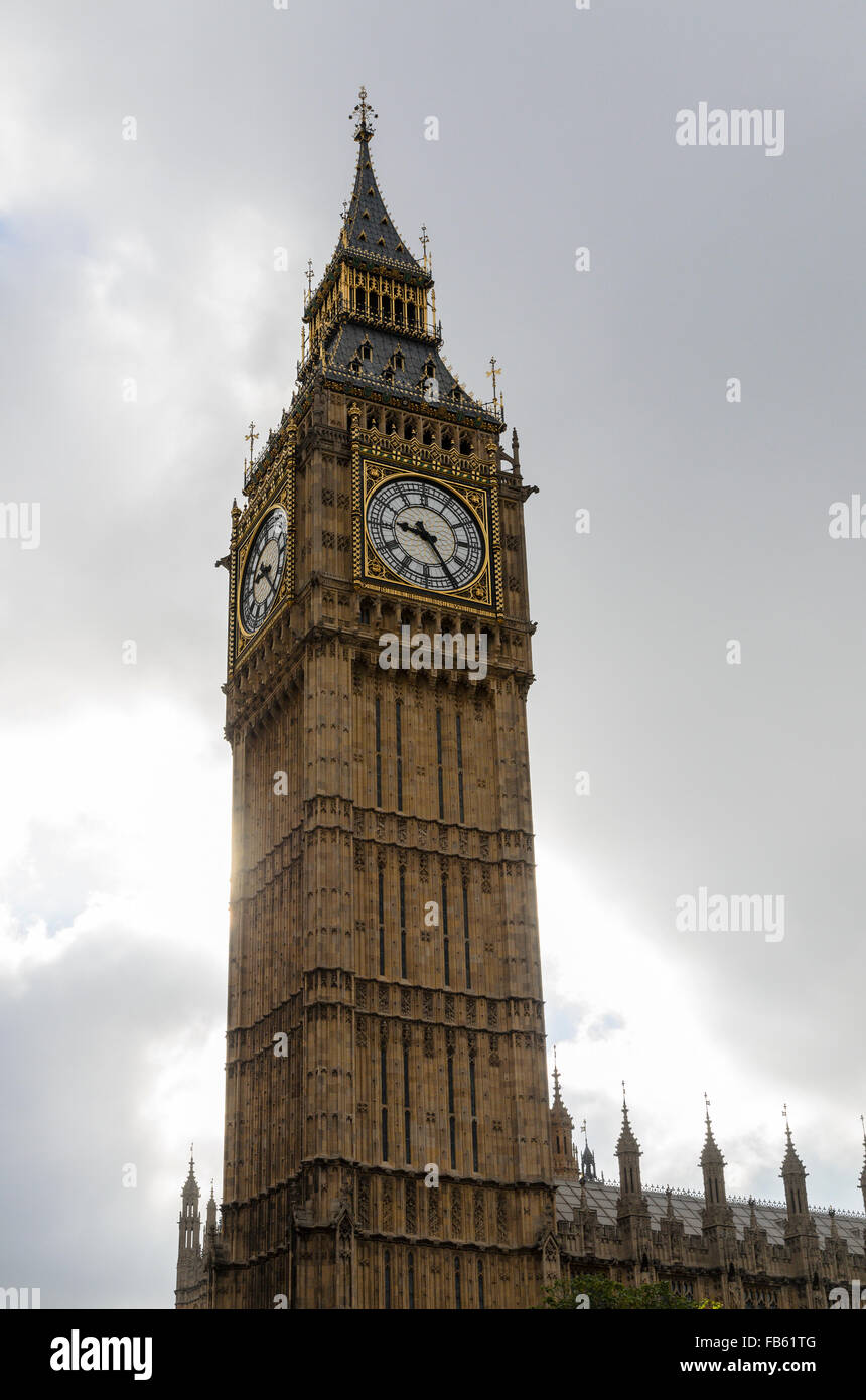 The Elizabeth Tower of the Houses of Parliament, London, U.K. is commonly referred to as Big Ben, after the bell - Stock Image