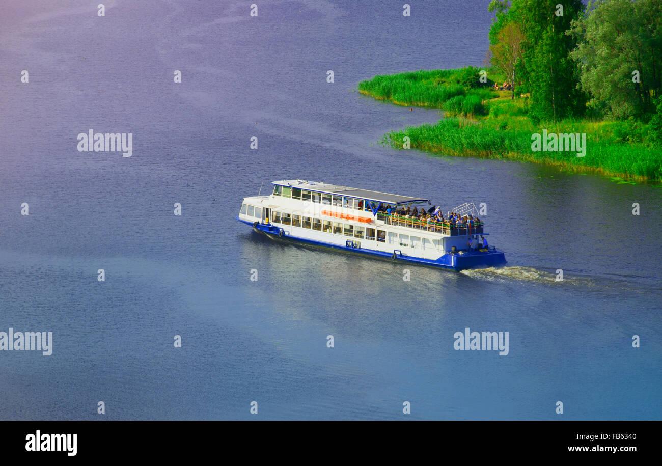 Passenger ship on river - Stock Image