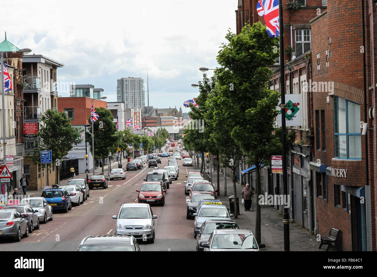View of the lower part of the Shankill Road, Belfast, Northern Ireland - Stock Image