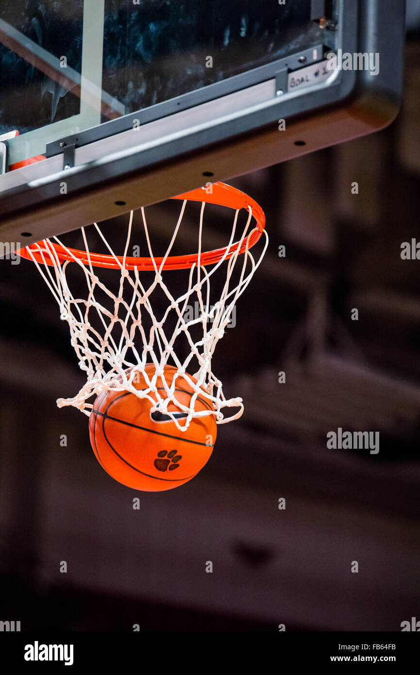 basketball going through the basket on a made free throw during the