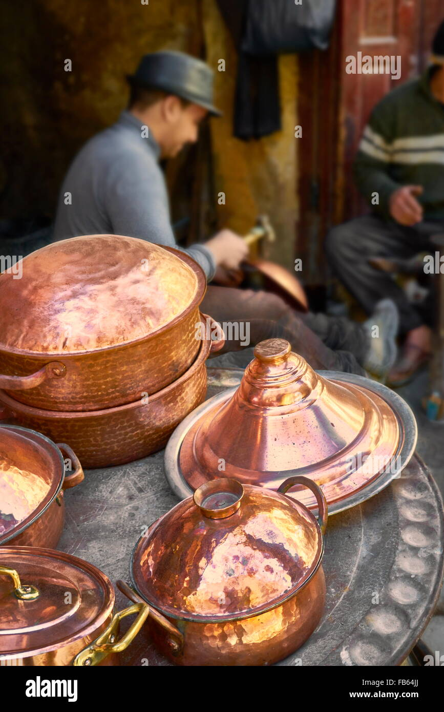 Fez Medina. Metalworkers workshops in the Place el Seffarine. Morocco, Africa - Stock Image