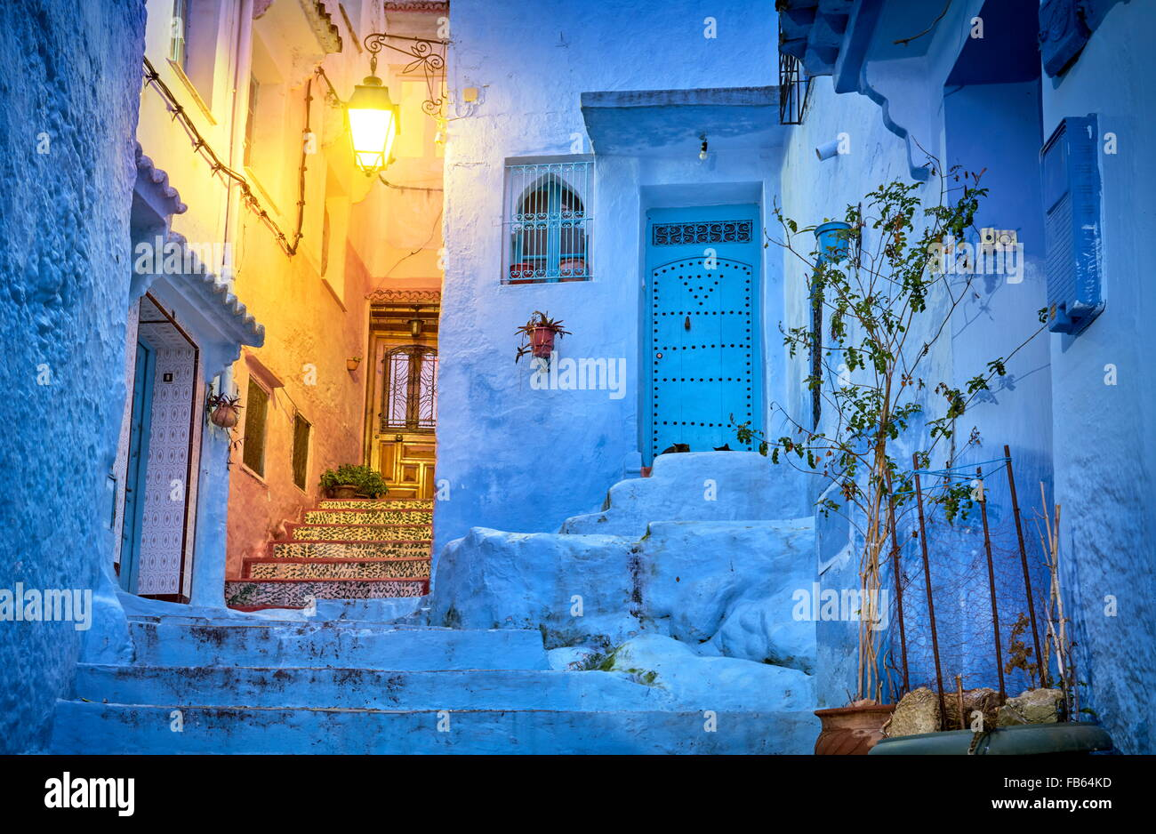 Blue painted walls in old medina of Chefchaouen (Chaouen). Morocco, Africa - Stock Image