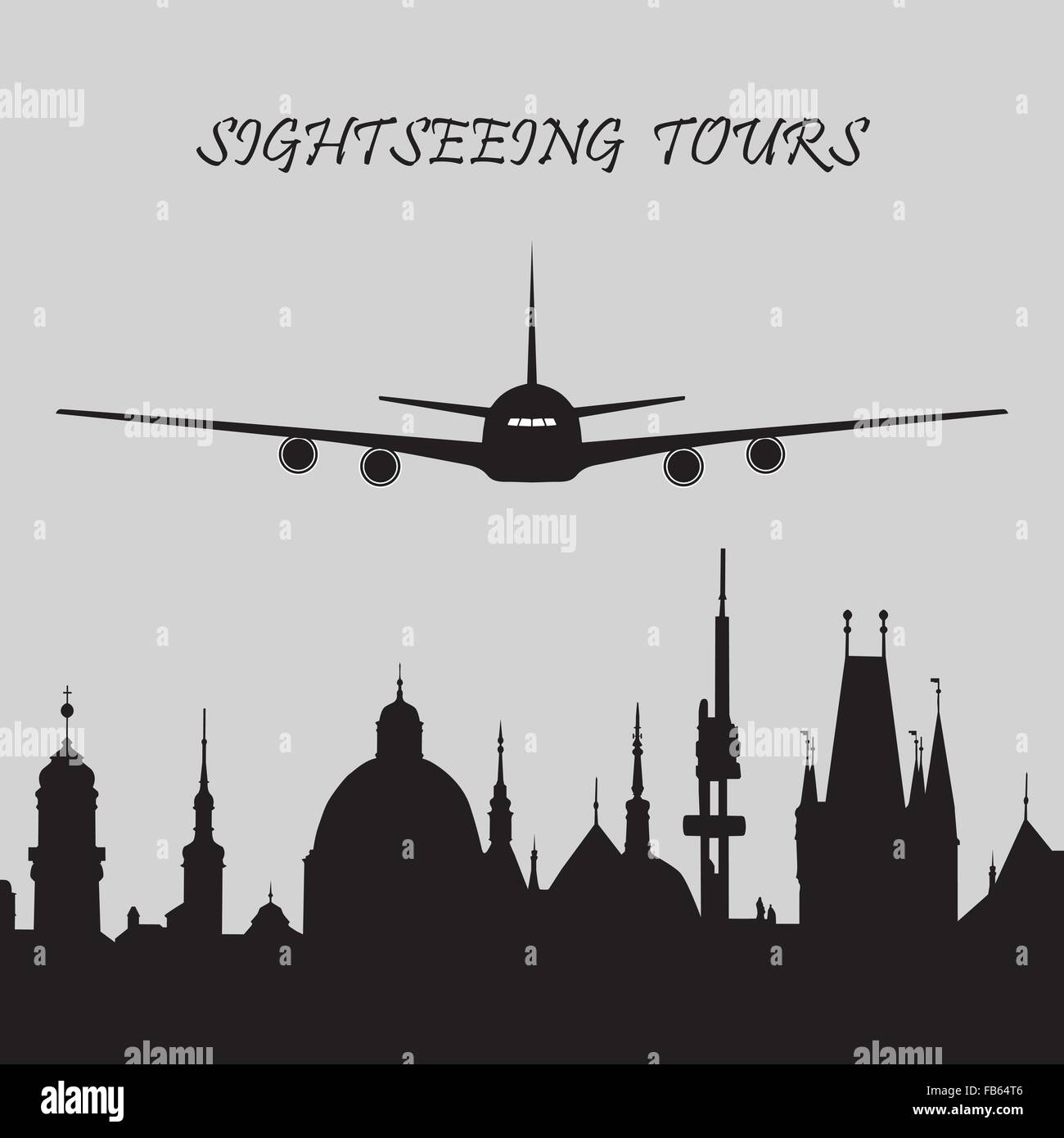 Black and white icon of sightseeing tours with a plane and cityscape of historical city. - Stock Vector