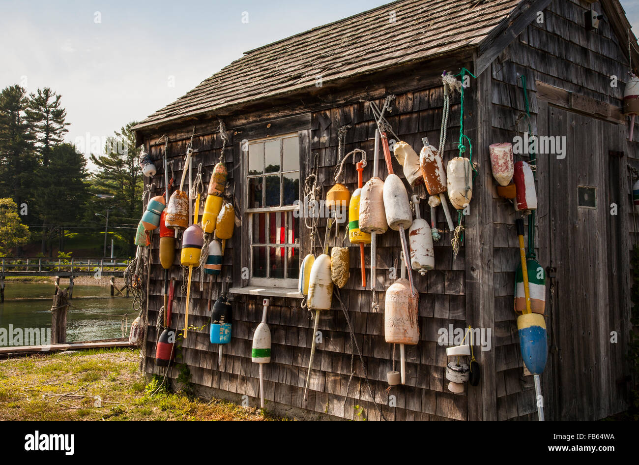 Vintage Storage Lobster Shack With Fishing Buoys, Bar Harbor, York, Maine,  USA, New England