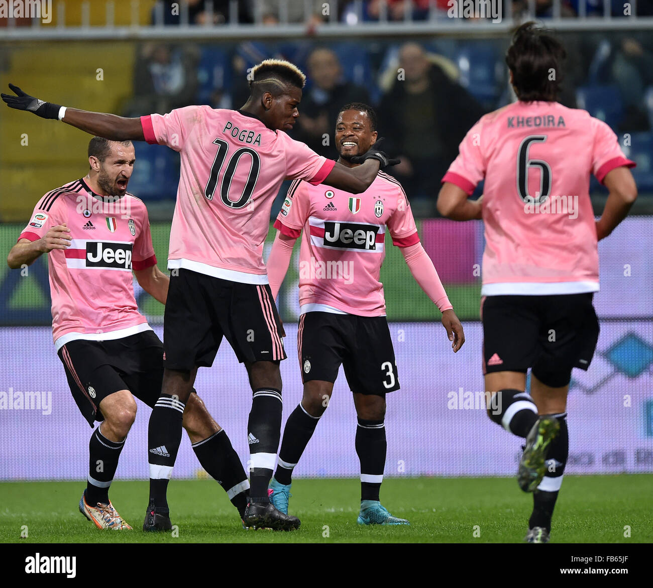 buy online b95bd 3af58 Genoa, Italy. 10th Jan, 2016. Paul Pogba (2nd, L) of ...