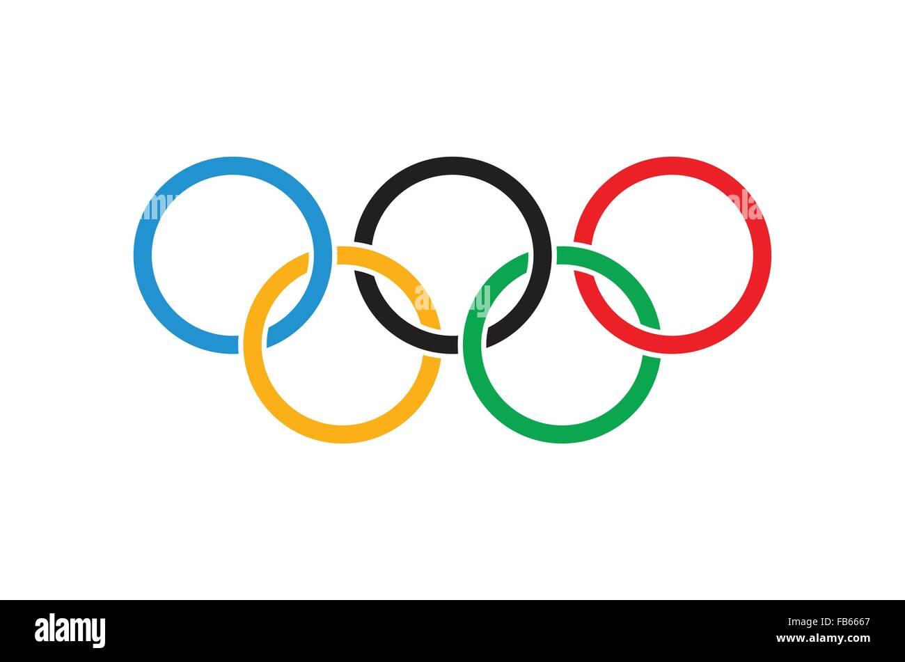Kremenchug, Ukraine -05 January 2016. Olympics flag. Olympic rings on white colors flag. Vector illustration - Stock Image