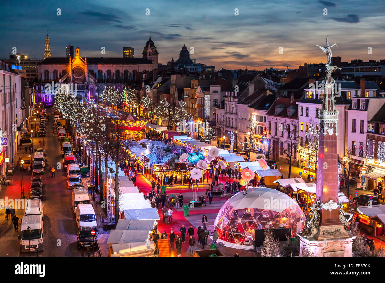 Belgium, Brussels Christmas Market or Winter Wonders, Marché aux Poissons, Fish Market next to St Catherine Church. Stock Photo