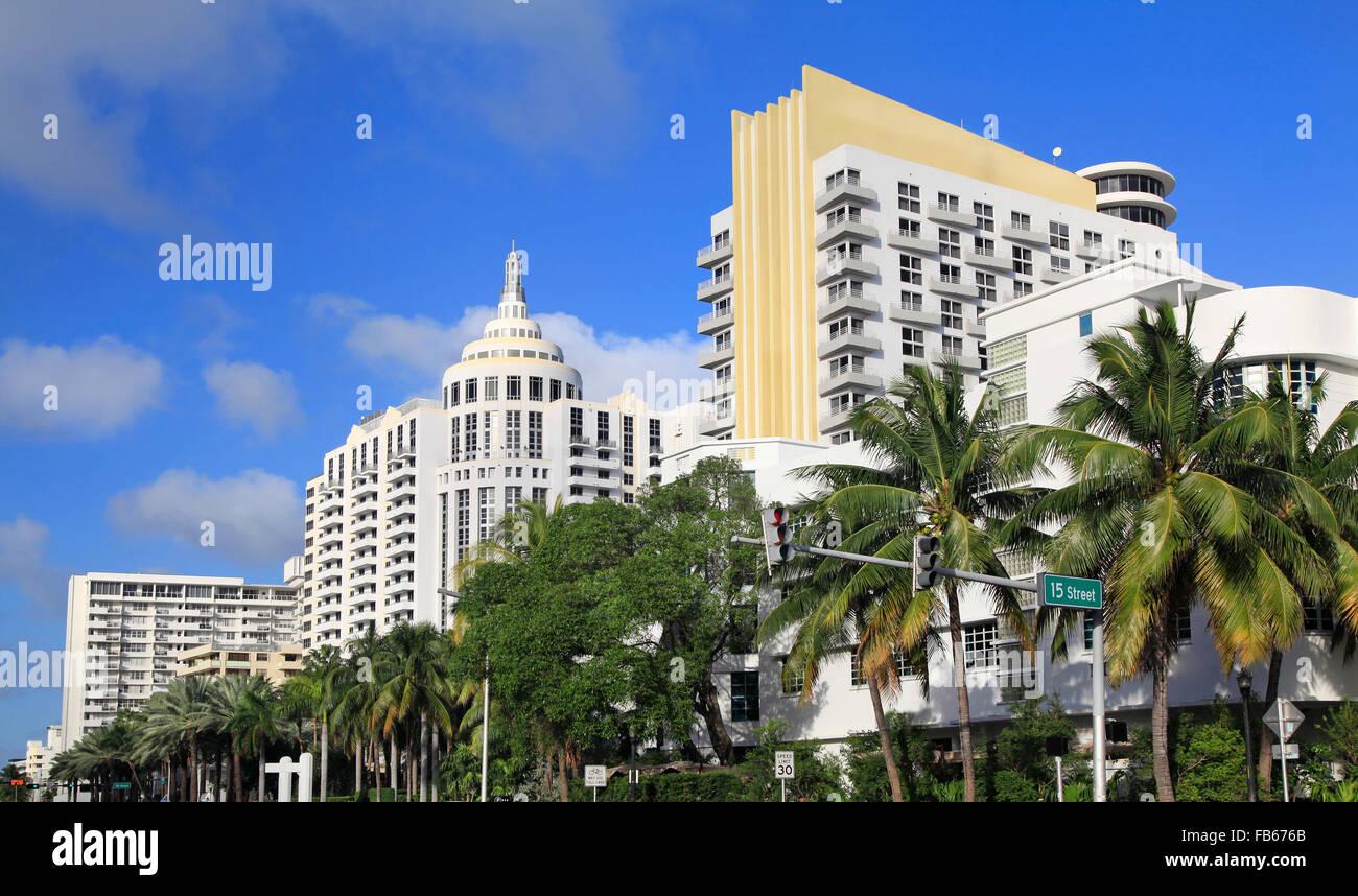 Luxurious hotels in Miami Beach, Art Deco architecture, Florida, USA - Stock Image