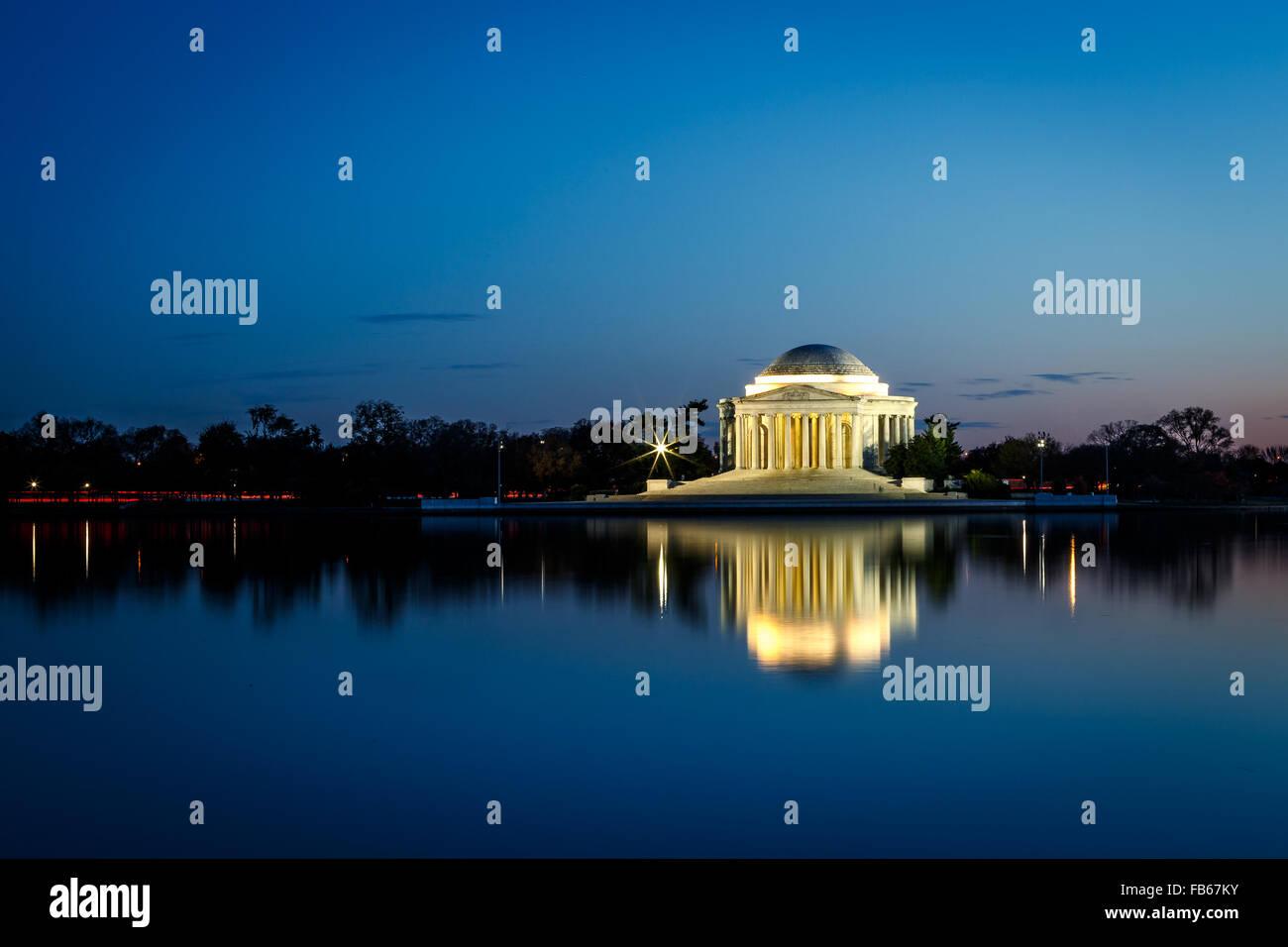 Jefferson Memorial illuminated at night in Washington DC - Stock Image