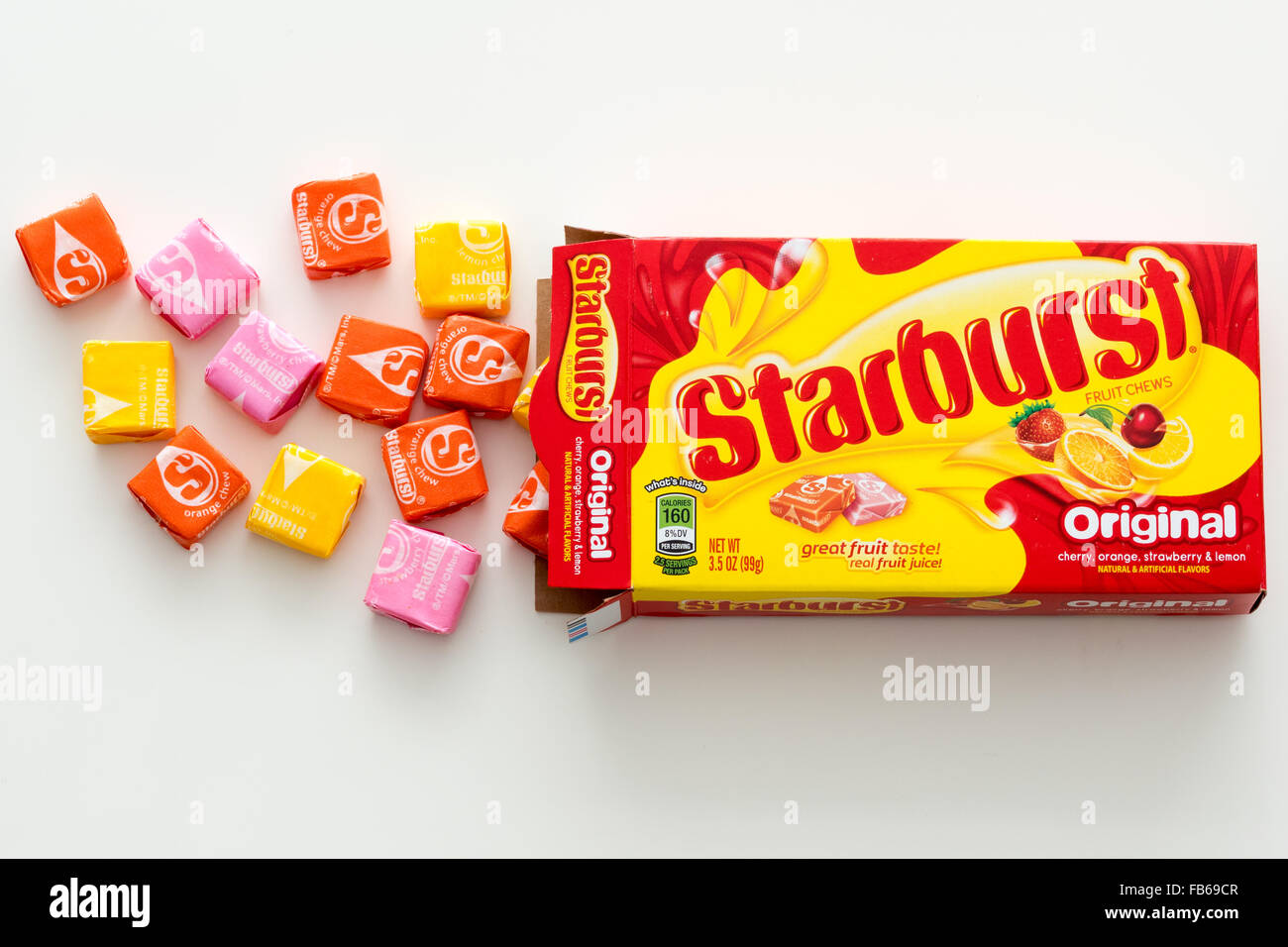 A box of Starburst candy, a fruit-flavored candy
