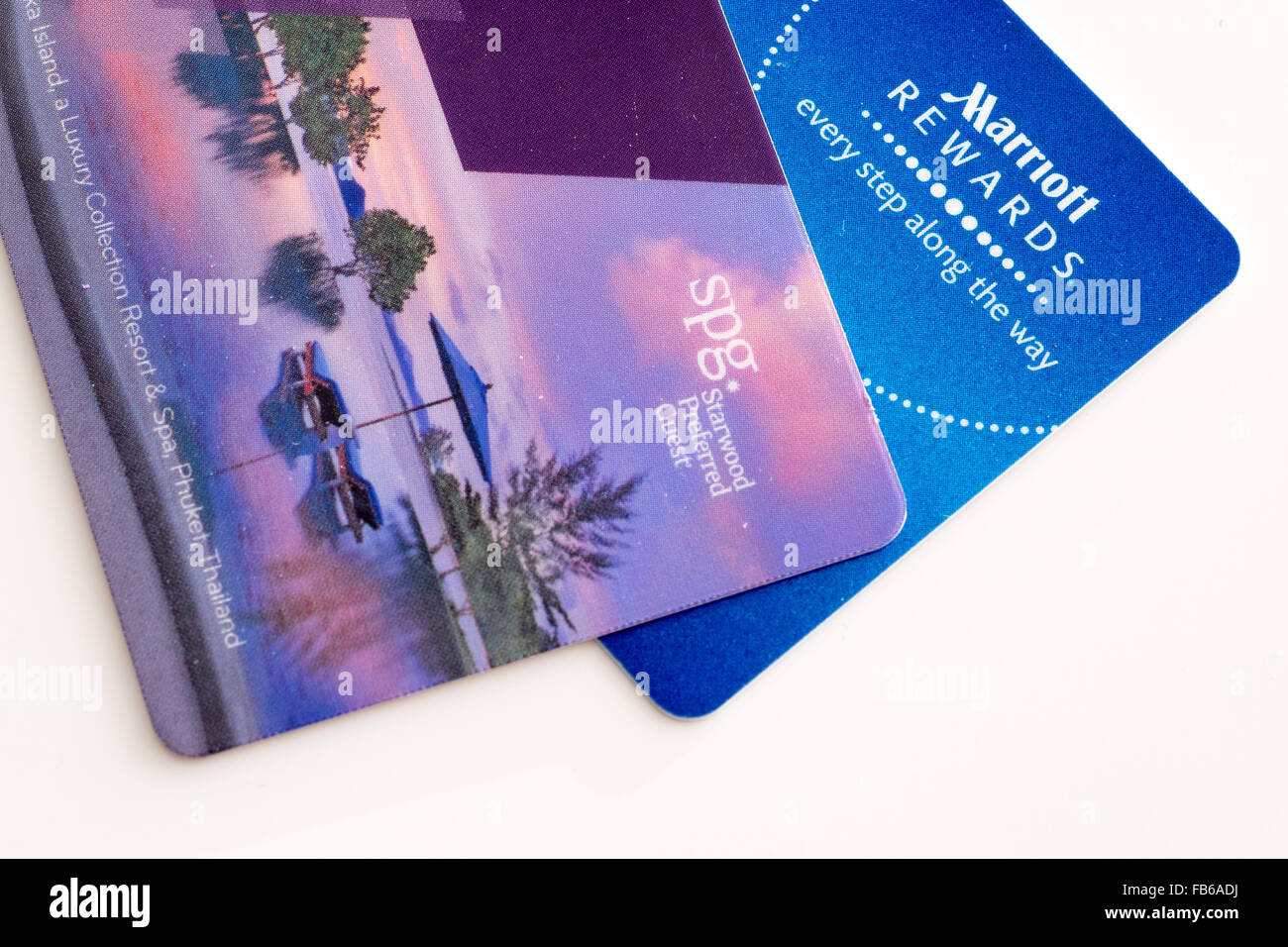 Starwood Preferred Guest and Marriott Rewards loyalty cards. - Stock Image