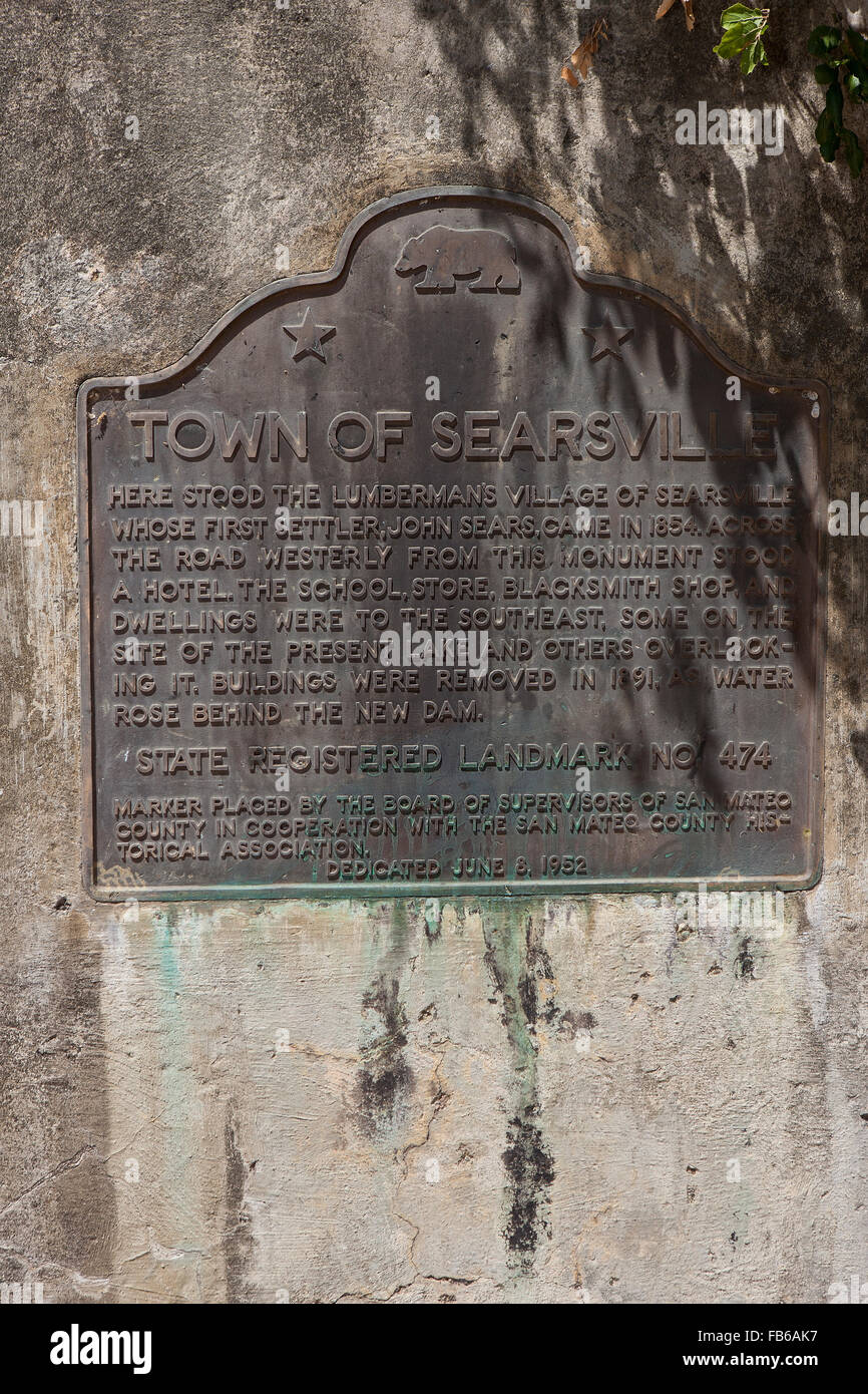 TOWN OF SEARSVILLE  Here stood the lumberman's village of Searsville whose first settler, John Sears, came in 1854. - Stock Image