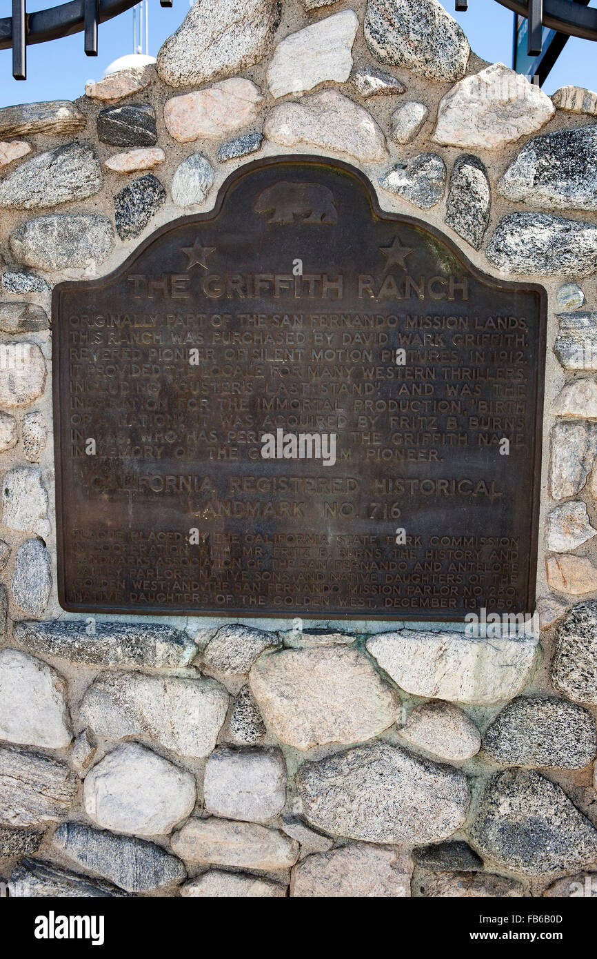 THE GRIFFITH RANCH  Originally part of the San Fernando mission lands, this ranch was purchased by David Wark Griffith, - Stock Image