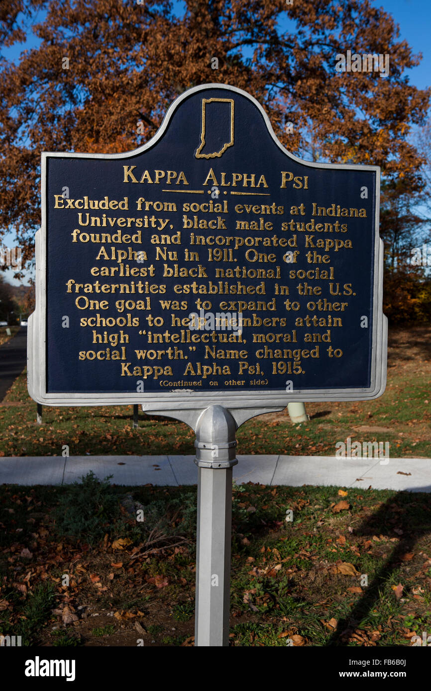 KAPPA ALPHA PSI  Excluded from social events at Indiana University, black male students founded and incorporated - Stock Image