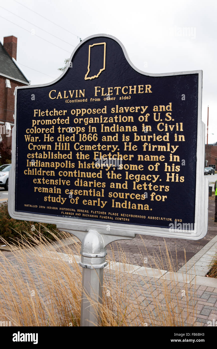 CALVIN FLETCHER  (Continued from other side)  Fletcher opposed slavery and promoted organization of U.S. colored - Stock Image