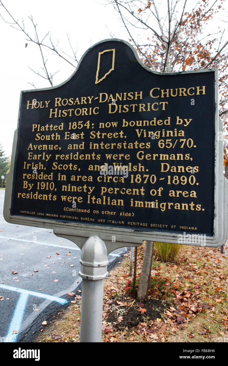 HOLY ROSARY-DANISH CHURCH HISTORIC DISTRICT  Platted 1854; now bounded by South East Street, Virginia Avenue, and - Stock Image