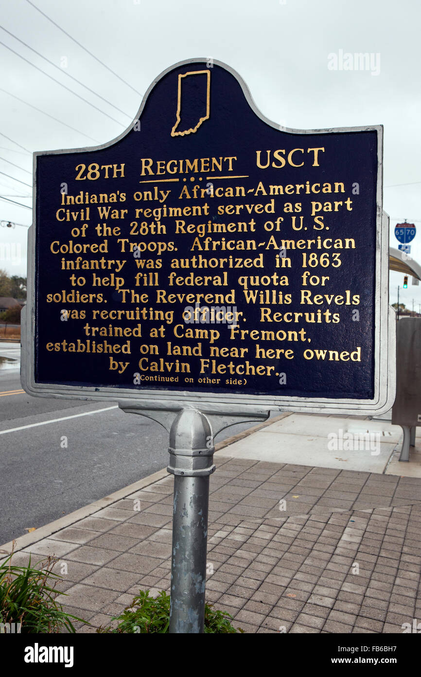 28th REGIMENT USCT  Indiana's only African-American Civil War regiment served as part of the 28th Regiment of - Stock Image