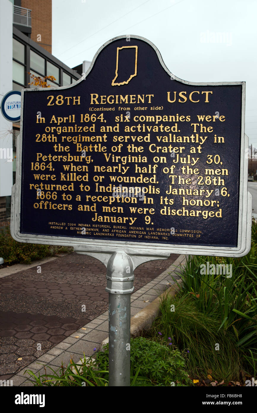 28th REGIMENT USCT  (Continued from other side)  In April 1864, six companies were organized and activated. The - Stock Image