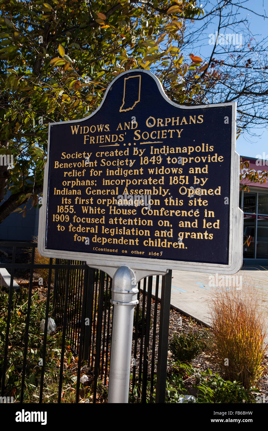 WIDOWS AND ORPHANS FRIENDS' SOCIETY  Society created by Indianapolis Benevolent Society 1849 to provide relief - Stock Image