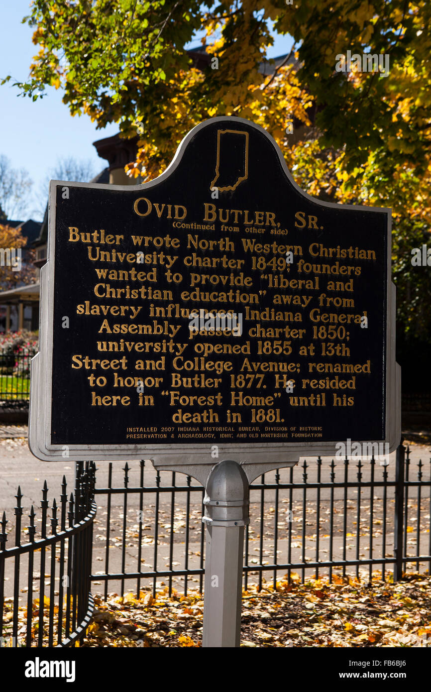 OVID BUTLER, SR.  (Continued from other side)  Butler wrote North Western Christian University charter 1849; founders' - Stock Image