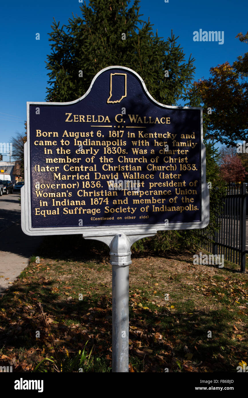 ZERELDA G. WALLACE  Born August 6, 1817 in Kentucky and came to Indianapolis with her family in the early 1830s. Stock Photo