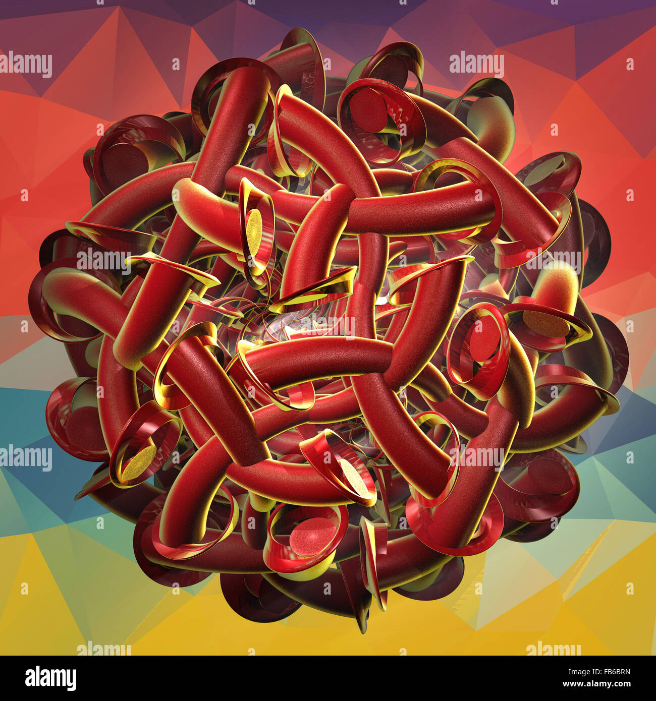 Entanglement of abstract organic 3D shapes on a geometric background. 3D digital art - Stock Image