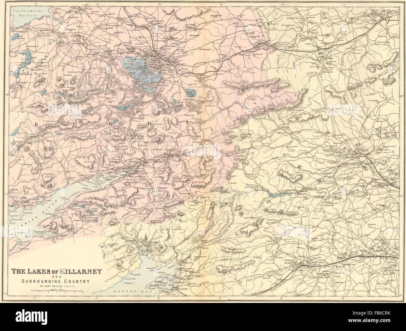 Killarney Lakes Kerry Bantry Kenmare Ireland Antique Map By Gw
