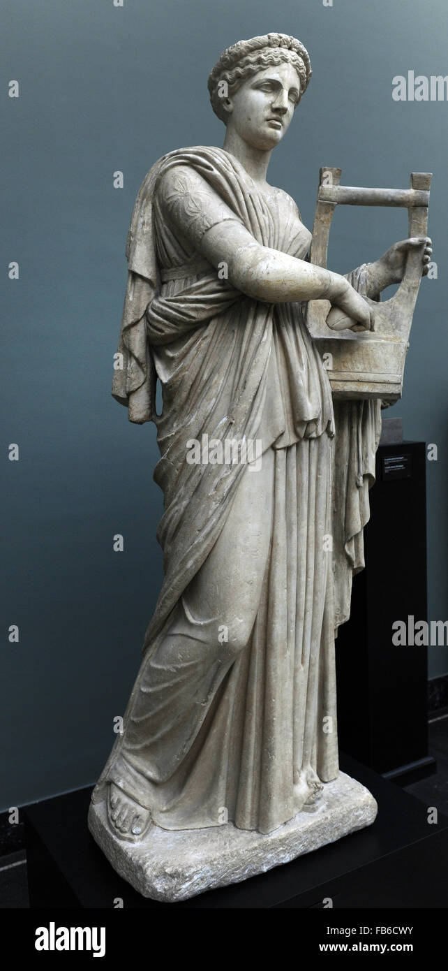 Classical mythology. Erato. Muse of lyric poetry. Roman statue. 2nd century AD. The muse is depicted playing the - Stock Image