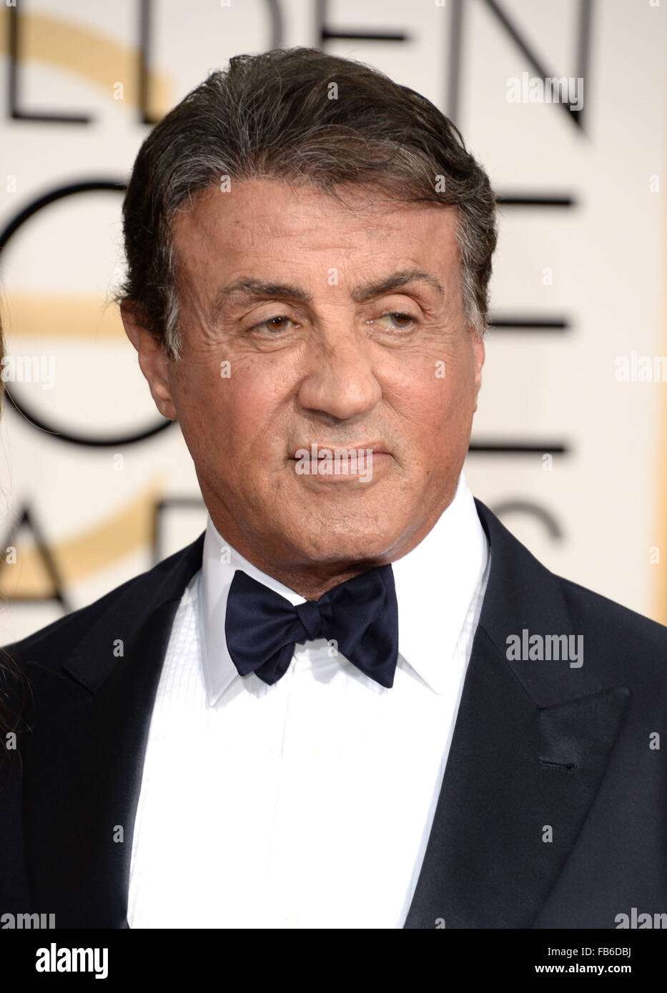 Los Angeles, California, USA. 10th January, 2016. Sylvester Stallone arrives at the Golden Globes, Los Angeles, - Stock Image
