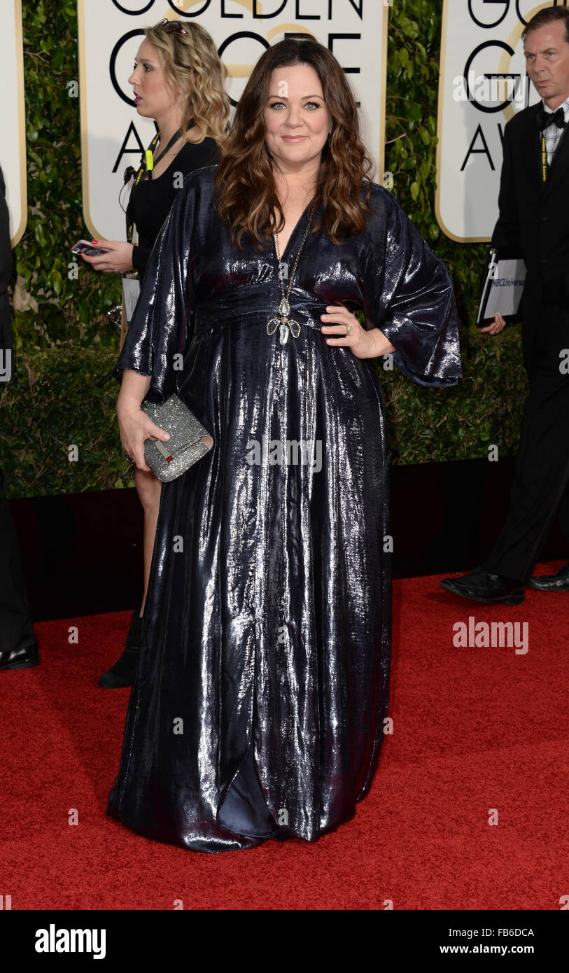 Los Angeles, California, USA. 10th January, 2016. Melissa McCarthy arrives at the Golden Globes, Los Angeles, CA - Stock Image