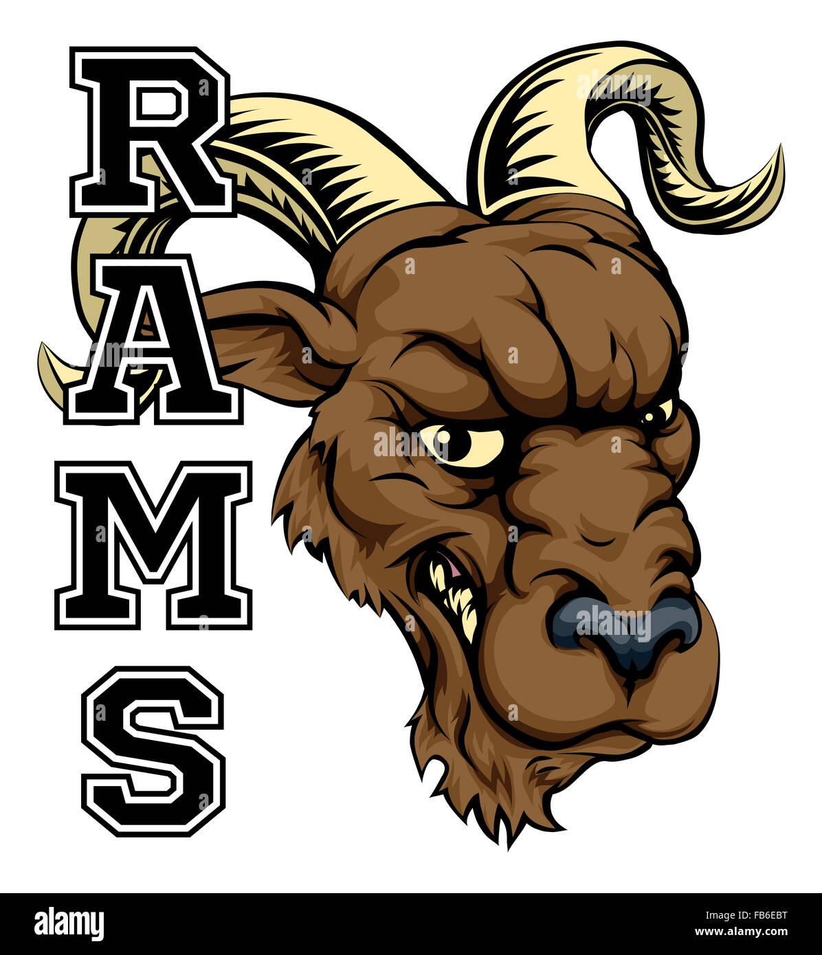 An Illustration Of A Cartoon Ram Sports Team Mascot With The Text Stock Photo Alamy