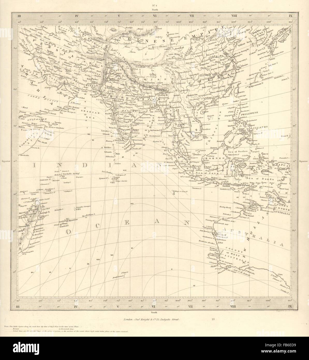 asia australia on gnomonic projection china india persia sduk 1848 old map