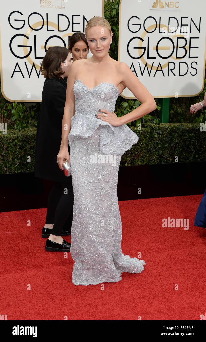Los Angeles, California, USA. 10th January, 2016. Malin Ackerman arrives at the Golden Globes, Los Angeles, CA Credit: - Stock Image