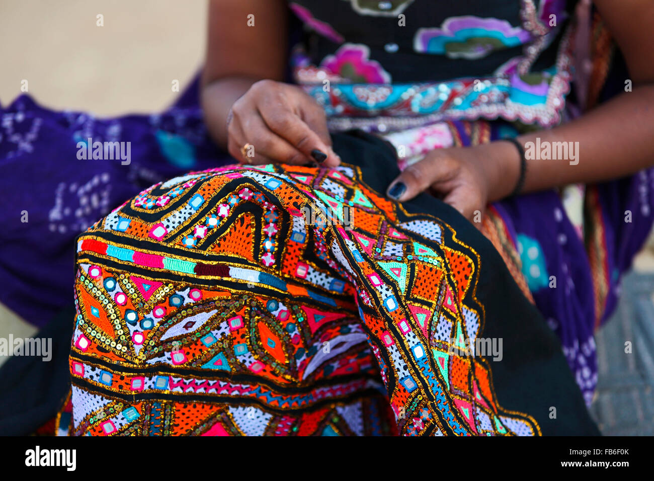 Kacchi Rabari (Desi), Laharia Village, Embroidery, Kutch District, Gujarat, India - Stock Image