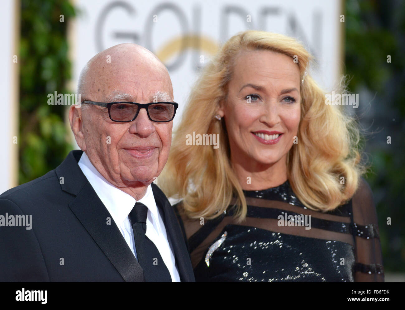 Los Angeles, California, USA. 10th January, 2016. Rupert Murdoch and Jerry Hall arrives at the Golden Globes, Los - Stock Image
