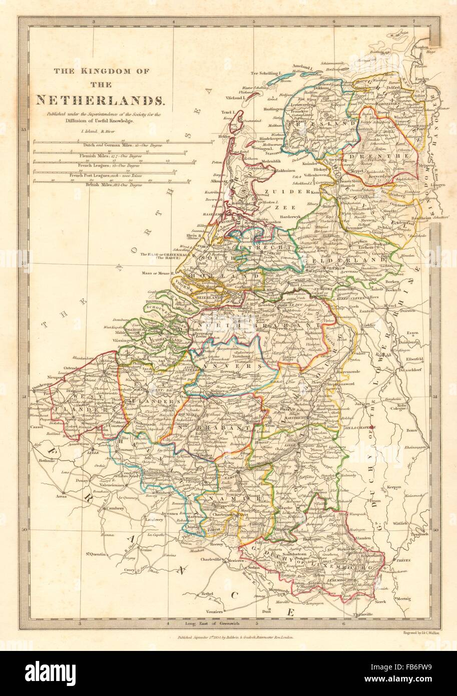 kingdom of the netherlands belgium provinces holland sduk 1848 old map