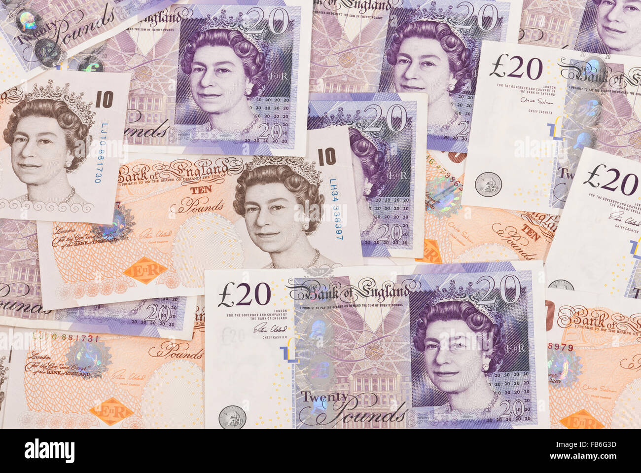 Currency of Great Britain, 10 and 20 pound notes - Stock Image