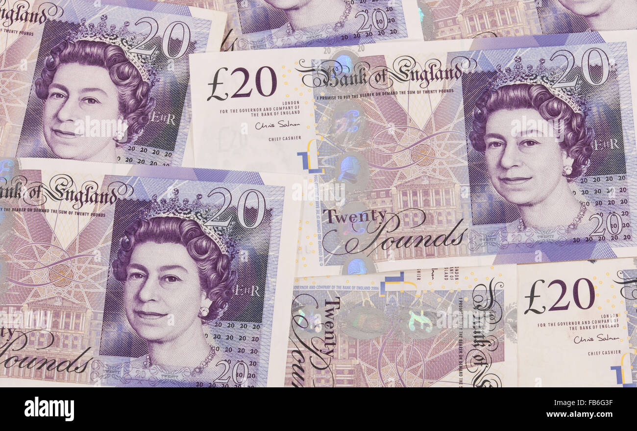 Currency of Great Britain, 20 pound notes - Stock Image