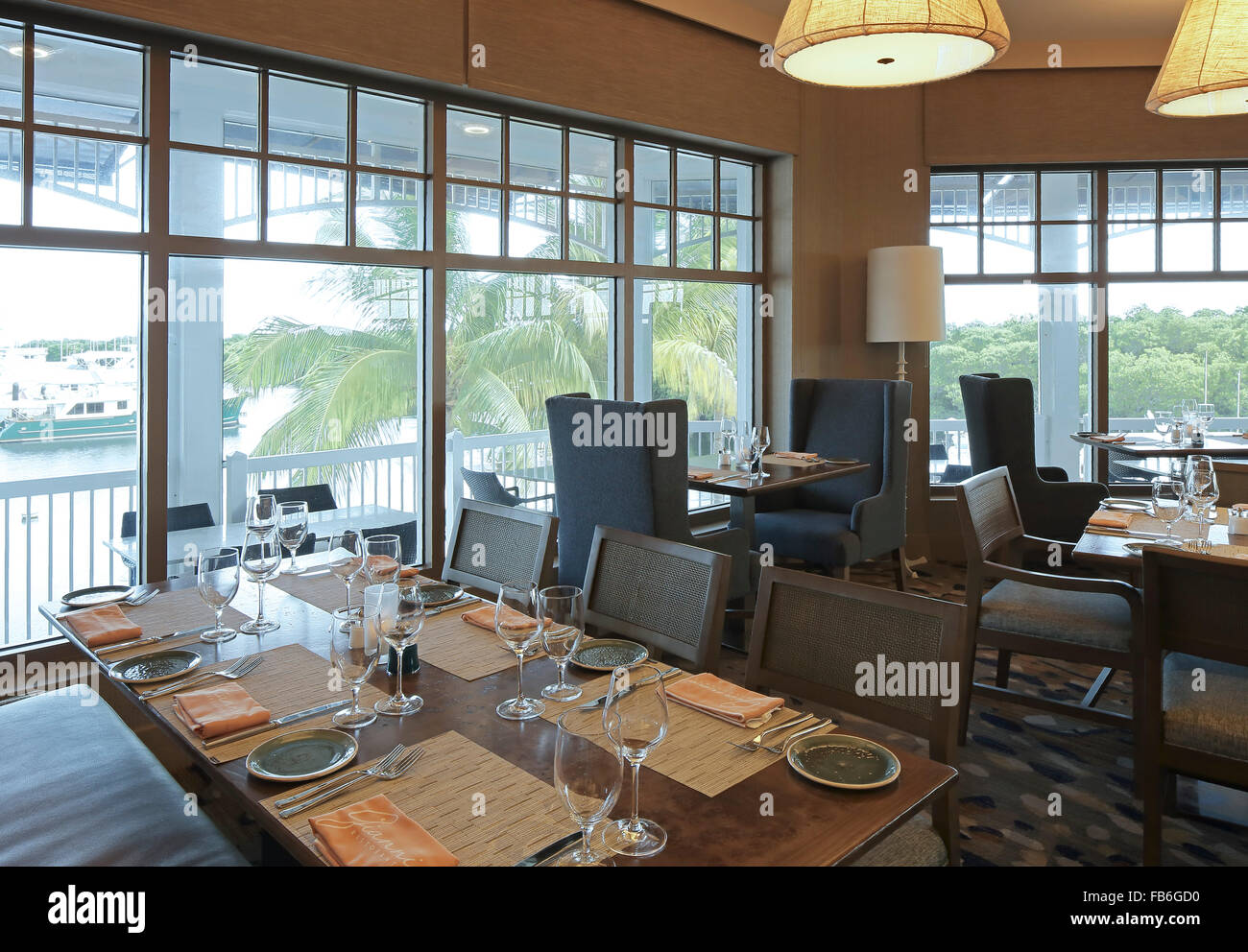 Interior view of restaurant with marina view Gianni Ristorante Key