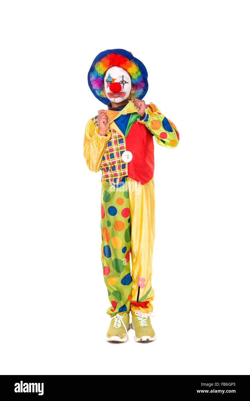 Young girl with clown costume isolated in white - Stock Image