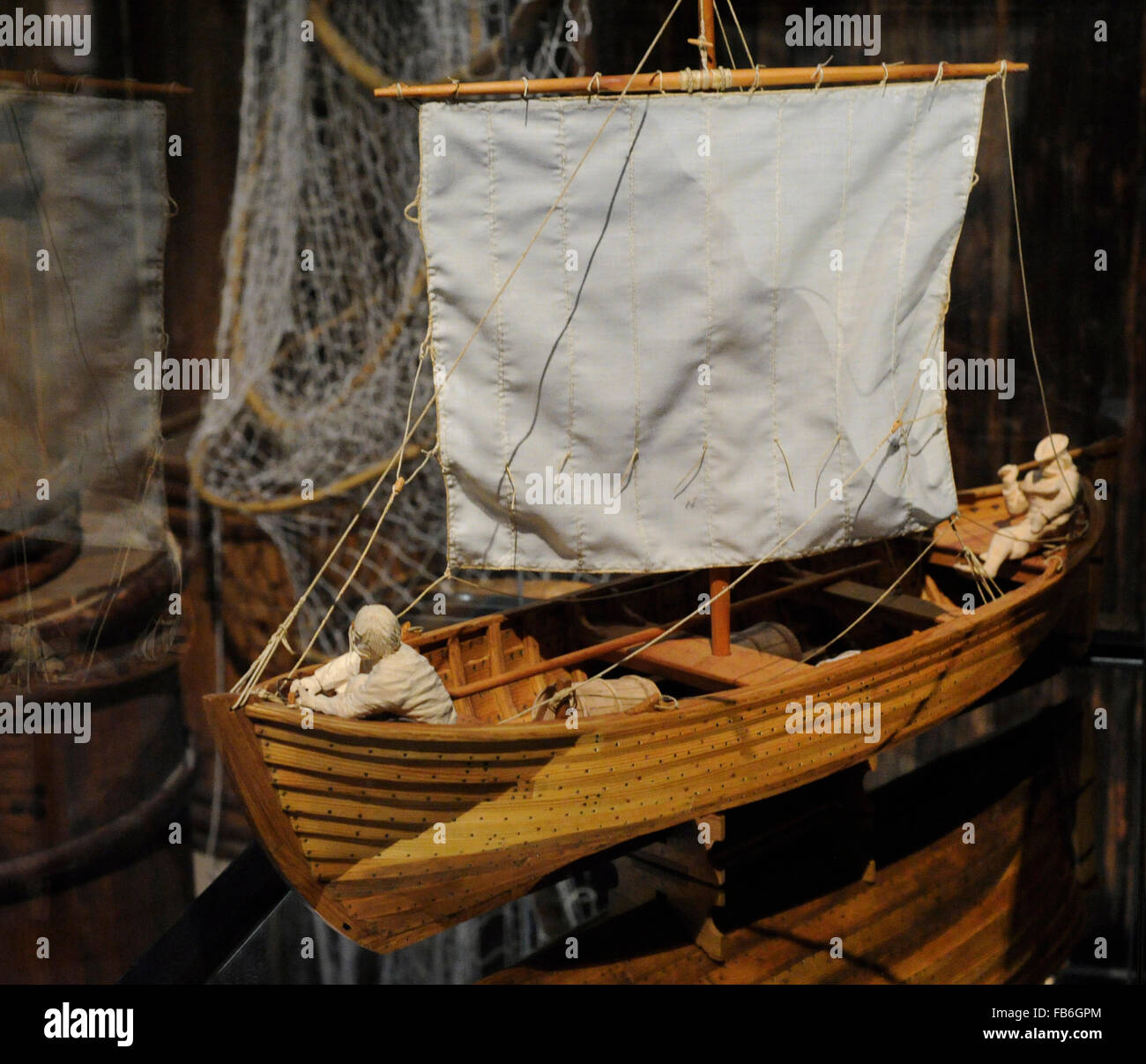 Model of a vessel of 15th century used to transport of goods in the Stockholm's archipelago. Oak. Made by C. Kruckeberg. Stock Photo