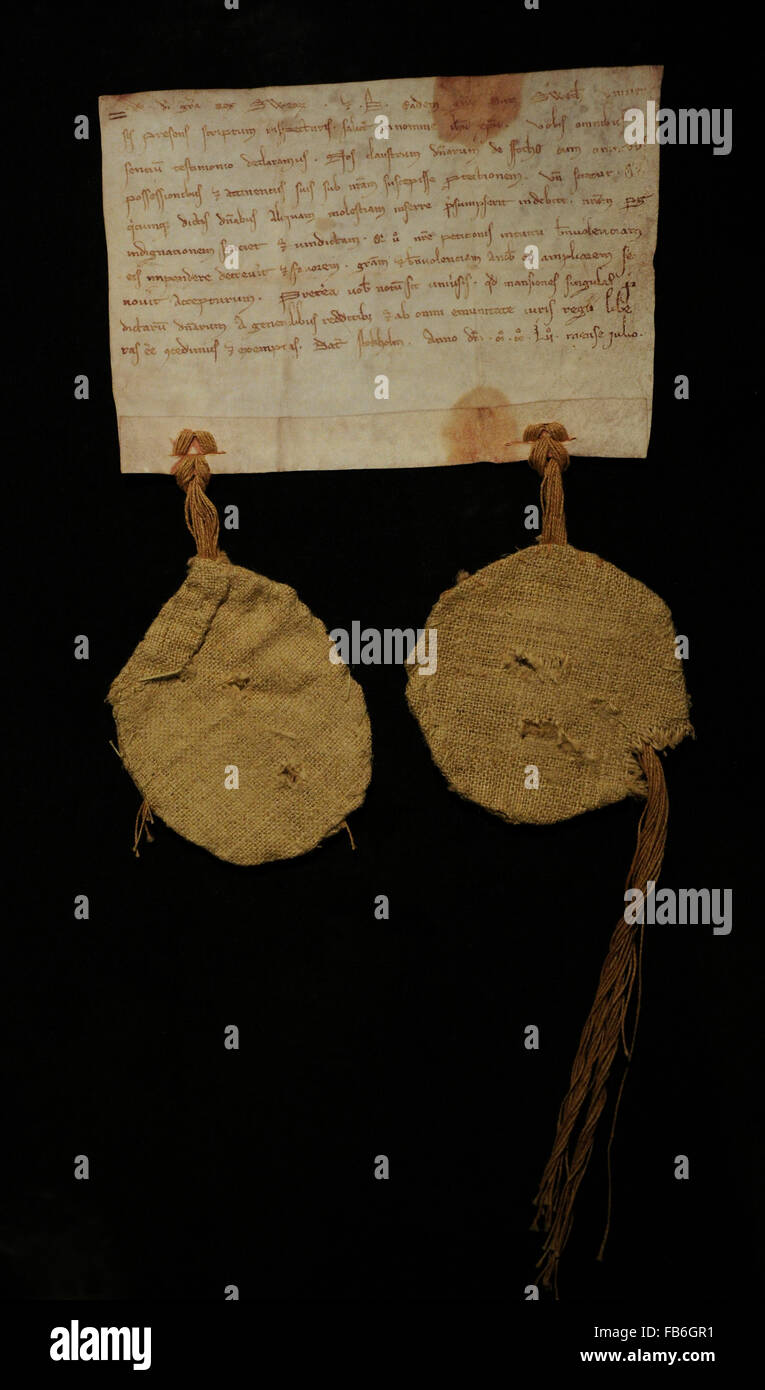 Letter of patronage for Fogdo Abbey, july 1252. Document where appears the earliest evidence of the name Stockholm. - Stock Image
