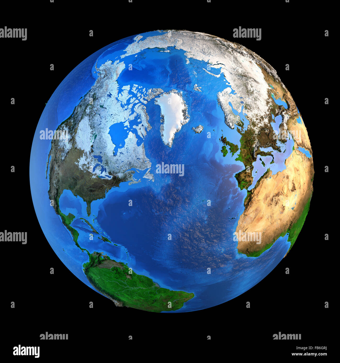 Detailed picture of the Earth and its landforms from a Northern perspective, isolated on black. Elements of this - Stock Image