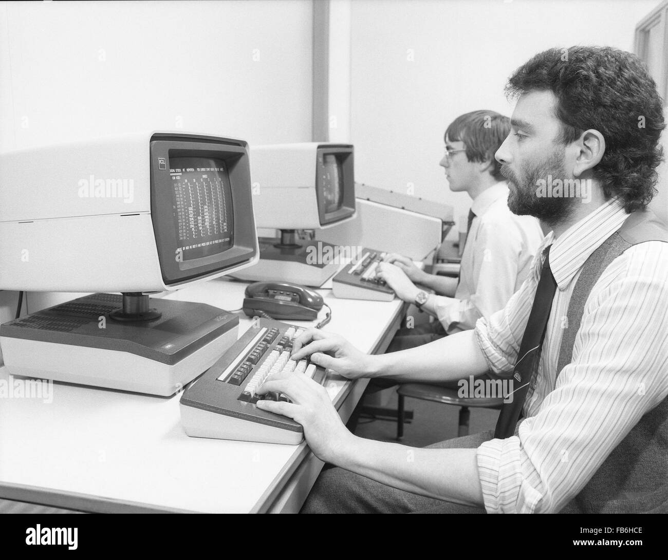 ICL 2900 Series mainframe computer installation and programmers at the Milk Marketing Board head office in Thames - Stock Image